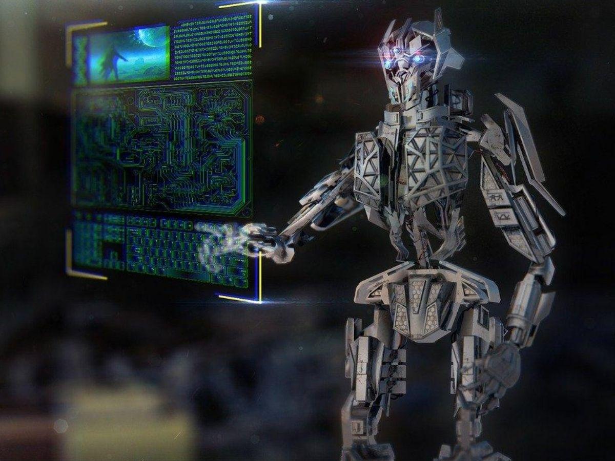 AI_robotがPCを操作する写真